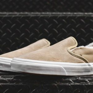 0a7d910f1f6 Vans Shoes - NWT Vans Classic Suede Fleece Slip-On Khaki White